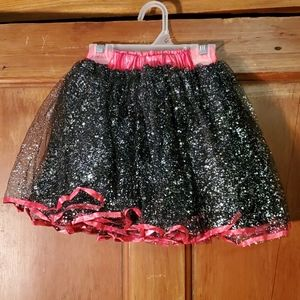 NEW Hot Pink and Black Sparkly Puffy Skirt Size 4